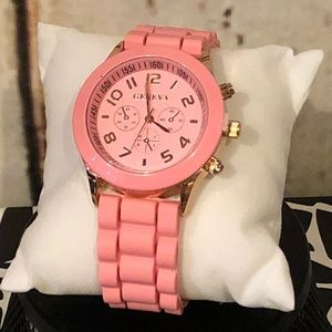 Lovely Light Pink Rubber Watch
